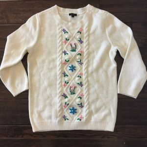 Talbots cream floral embroidered  sweater S NWOT